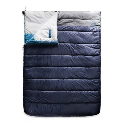 New Double sleeping bag, blue and gray