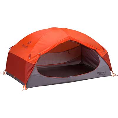 Orange tent with rainfly