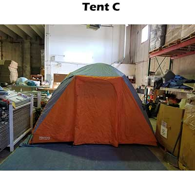 View of tent with rainfly on