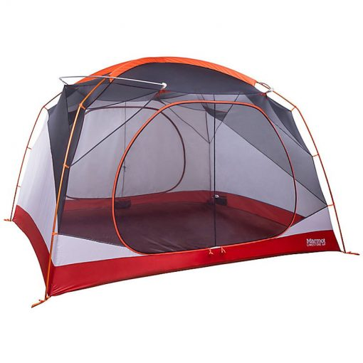 Orange tent without rainfly
