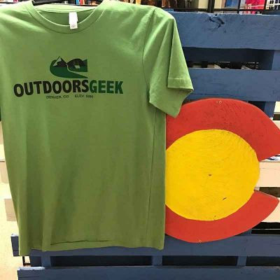 Outdoors geek t-shirt front view
