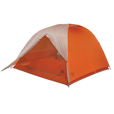 orange and gray tent with fly