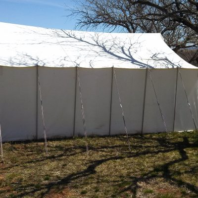 This image is a traditional frame canvas tent.
