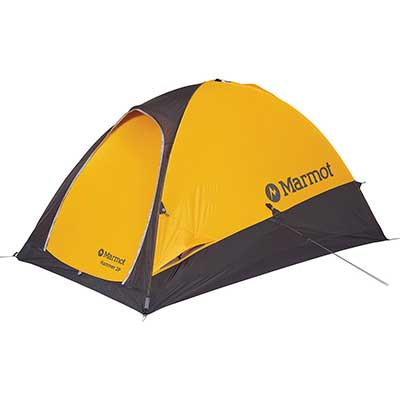 black and yellow 2 person 4 season tent