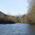 river with mountain in background