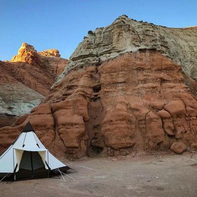 bell tent in desert
