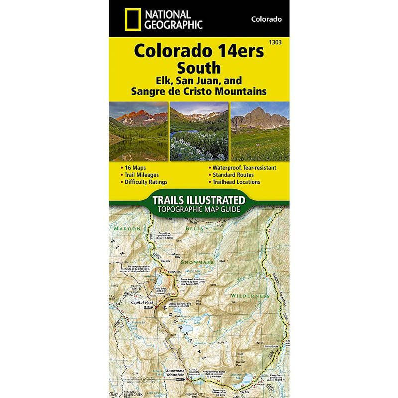 National Geographic Colorado 14ers South 1303 Map on mountains map, golf map, travel map, mt evans map, state high points map, interactive topo map, home map, art map, hiking map, baseball map, food map, hunting map, national parks map, sawtooth wilderness topo map, waterfalls map, sports map, backcountry map, lakes map, camping map, mt antero map,